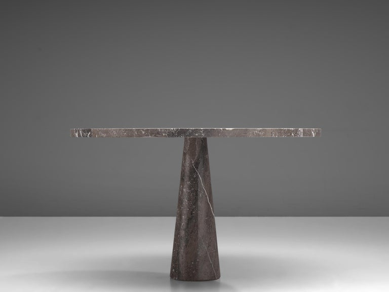 Italian Angelo Mangiarotti 'Eros' Round Table in Grey Marble For Sale