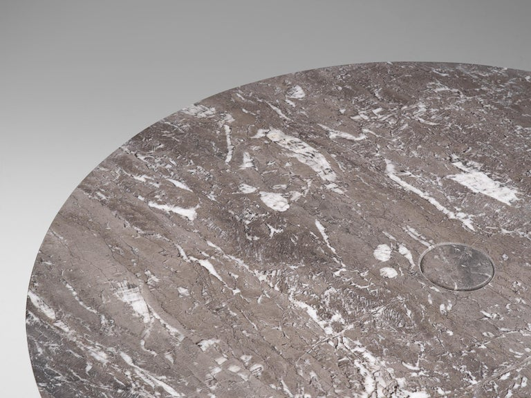 Late 20th Century Angelo Mangiarotti 'Eros' Round Table in Grey Marble For Sale