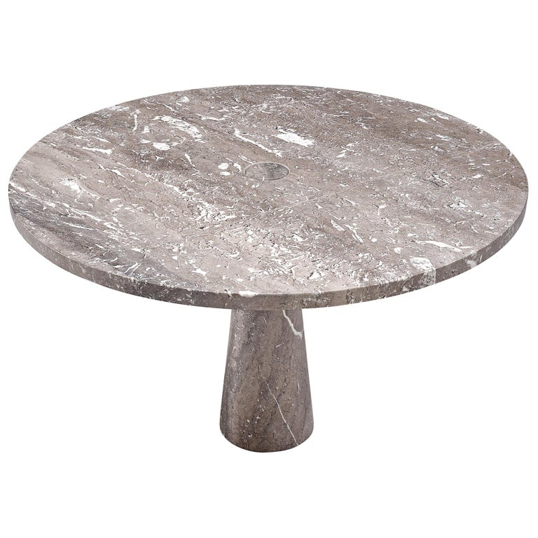 Angelo Mangiarotti 'Eros' Round Table in Grey Marble For Sale