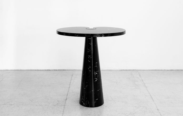 Rare side table by Angelo Mangiarotti with beautiful Italian black marquina marble. Larger size of the pair (sold separately)