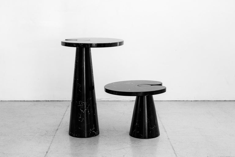 """Rare side table by Angelo Mangiarotti with beautiful Italian black marquina marble. Part of the Eros series and produced for Skipper, Italy 1970s.  2 available (priced separately)   Measures: Small table W 21.5"""", D 18.5"""", H 15"""" Large table W"""