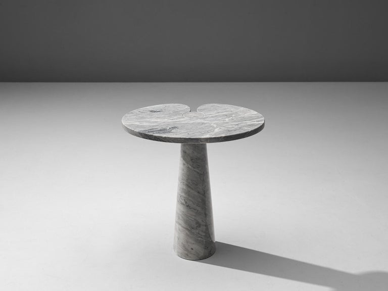 Angelo Mangiarotti, side table 'Eros', white marble, Italy, 1970s  This sculptural table by Angelo Mangiarotti is a skillful example of postmodern design. The lotus leaf like side table features no joints or clamps and is architectural in its