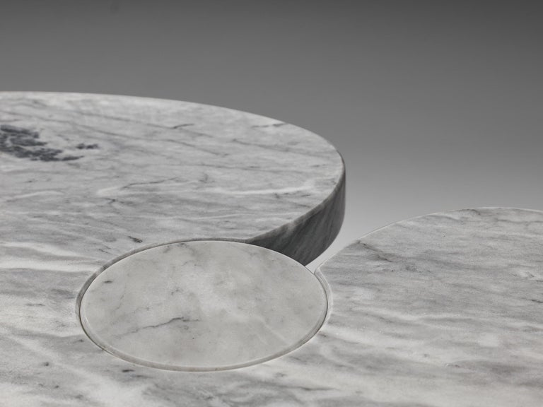 Mid-Century Modern Angelo Mangiarotti 'Eros' Side Table in Carrara Marble For Sale