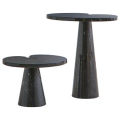 Angelo Mangiarotti Eros Side Table in Nero Marquina Marble, Short