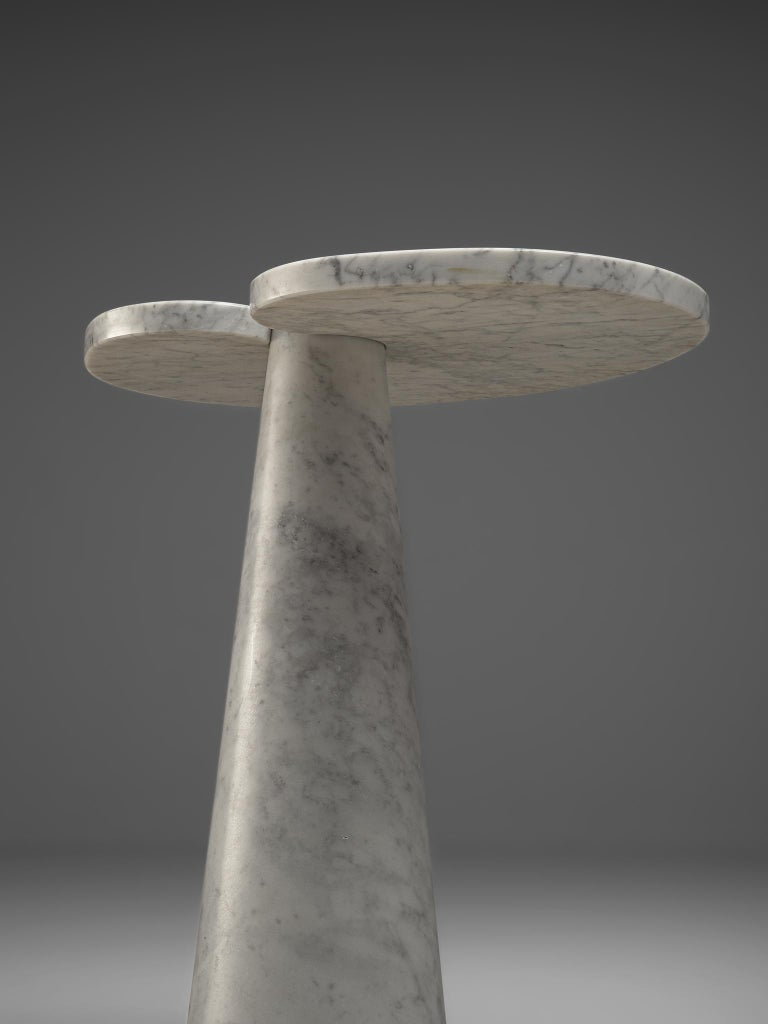 Italian Angelo Mangiarotti 'Eros' Side Table in White Marble For Sale