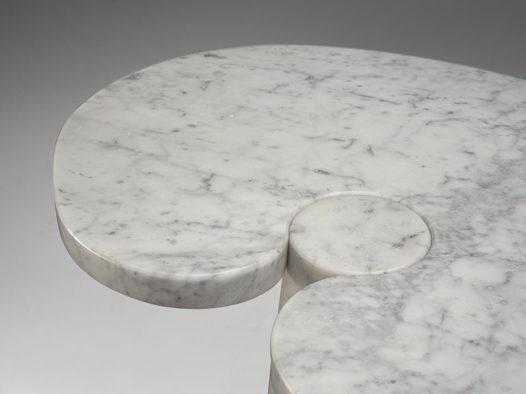 Late 20th Century Angelo Mangiarotti 'Eros' Side Table in White Marble For Sale