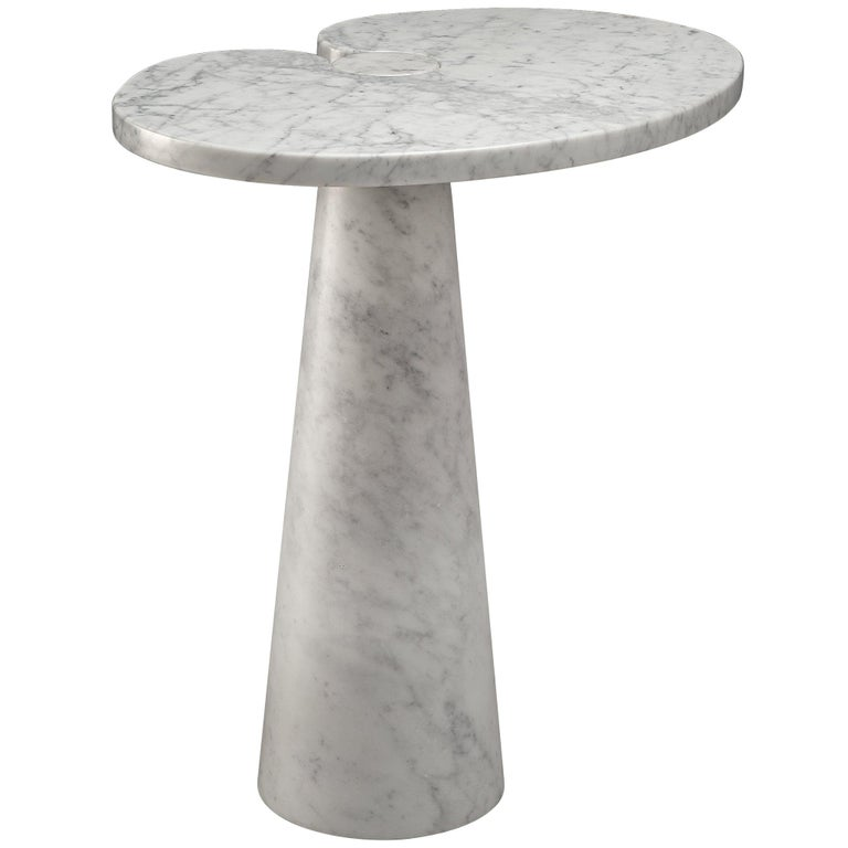 Angelo Mangiarotti 'Eros' Side Table in White Marble For Sale