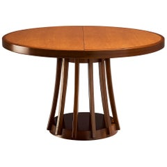 Angelo Mangiarotti Extendable Table in Walnut and Mahogany