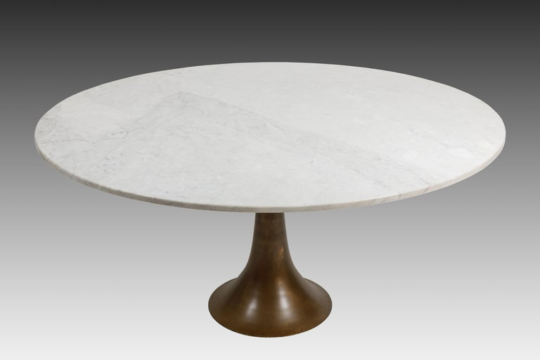 Designed by Angelo Mangiarotti and manufactured by Bernini early and rare dining or center table with white Carrara marble top on bronze base by Fonderia Battaglia, Italy, 1959. The Carrara marble is original and beautifully veined and patinated