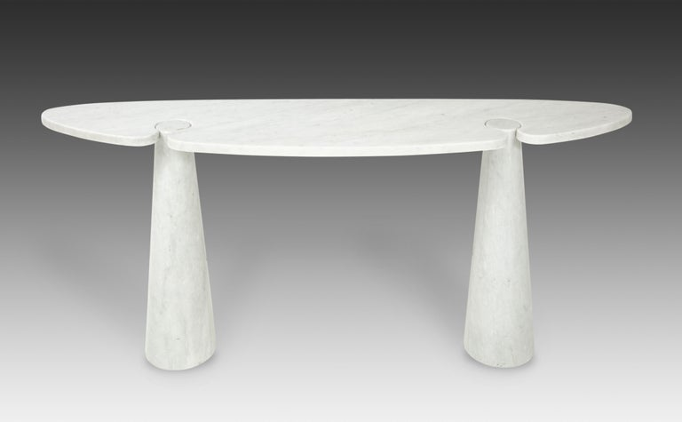Designed by Angelo Mangiarotti for Skipper from the 'Eros' series, Carrara marble console with top fitted on two conical bases, Italy, 1971. Original skipper stickers on underside.