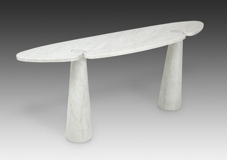 Mid-Century Modern Angelo Mangiarotti for Skipper Carrara Marble Console For Sale