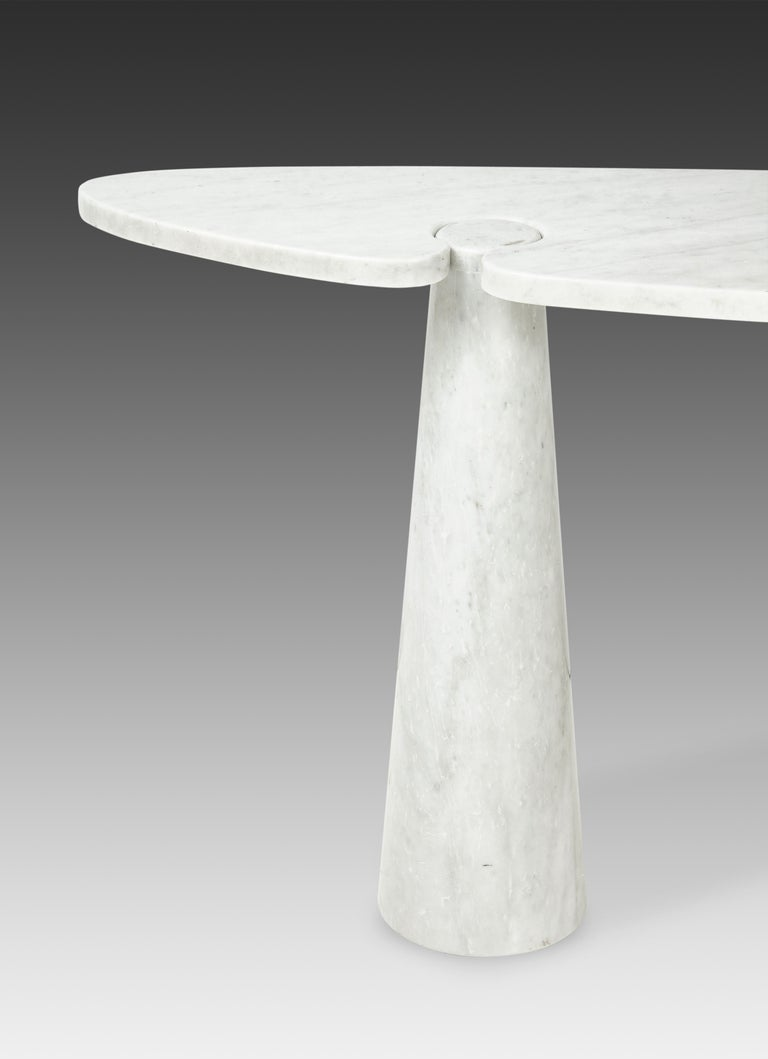Italian Angelo Mangiarotti for Skipper Carrara Marble Console For Sale