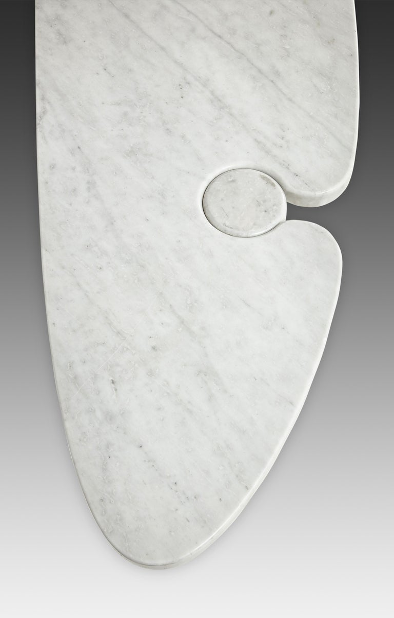 Angelo Mangiarotti for Skipper Carrara Marble Console In Good Condition For Sale In Chappaqua, NY