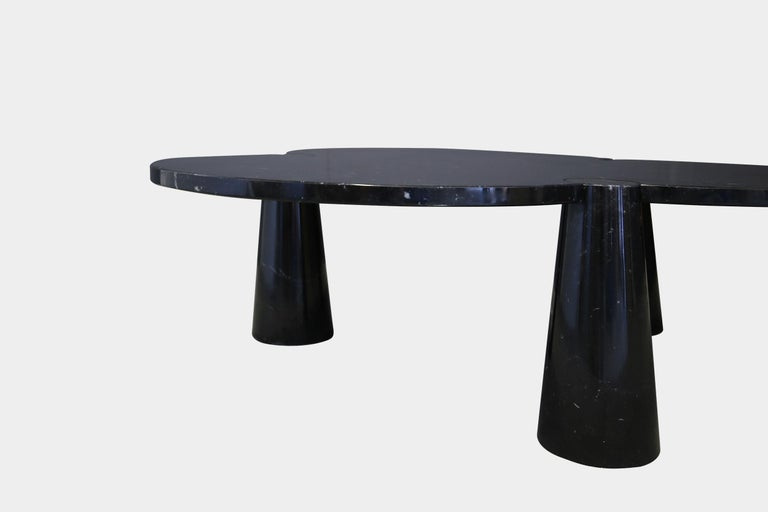 Polished Angelo Mangiarotti Rare Black Marquina Marble Coffee Table