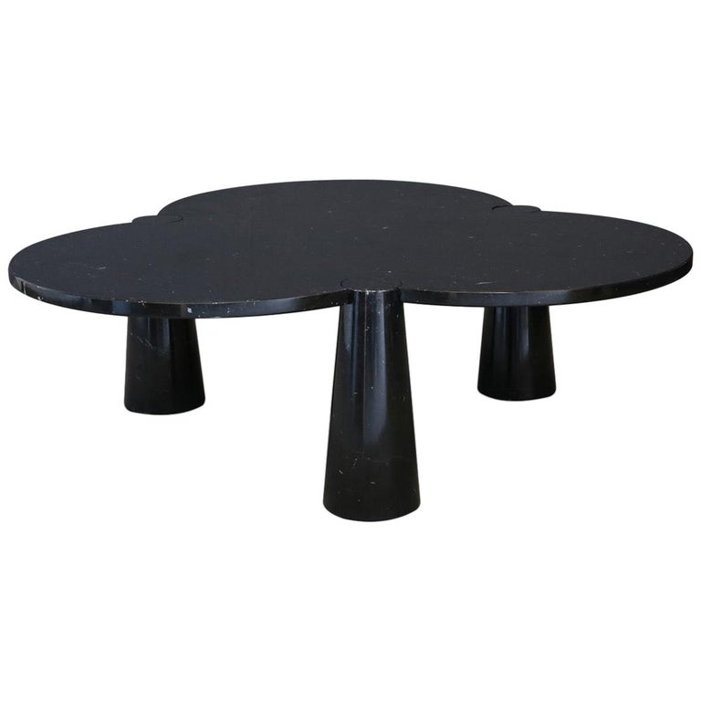 Angelo Mangiarotti Rare Black Marquina Marble Coffee Table For Sale