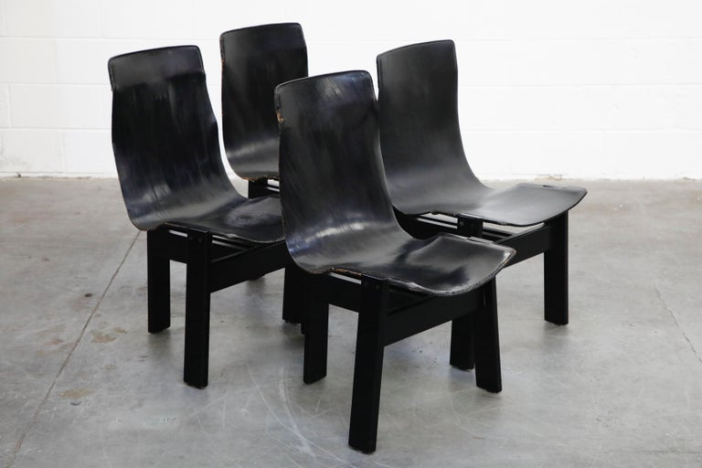 Angelo Mangiarotti for Skipper 'Tre 3' Dining Leather Sling Chairs, circa 1978 For Sale 2