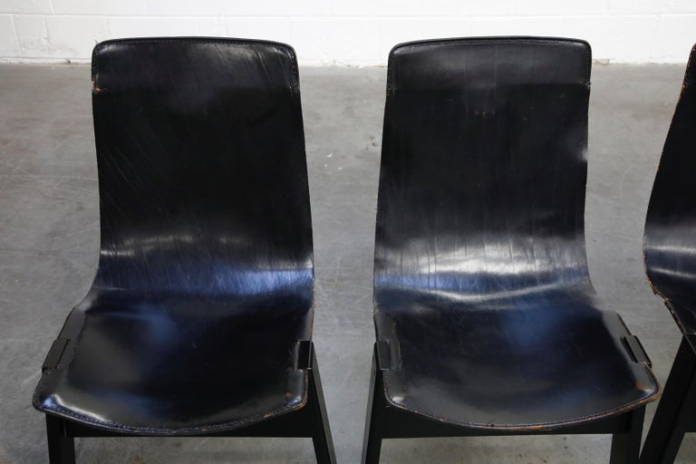 Angelo Mangiarotti for Skipper 'Tre 3' Dining Leather Sling Chairs, circa 1978 For Sale 3