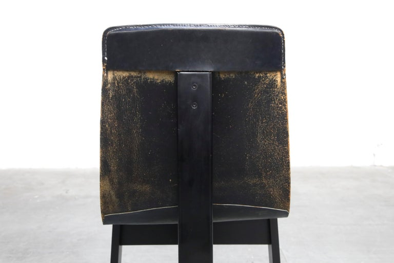 Angelo Mangiarotti for Skipper 'Tre 3' Dining Leather Sling Chairs, circa 1978 For Sale 12