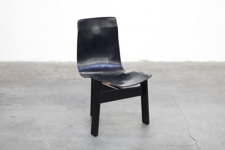 Italian Angelo Mangiarotti for Skipper 'Tre 3' Dining Leather Sling Chairs, circa 1978 For Sale