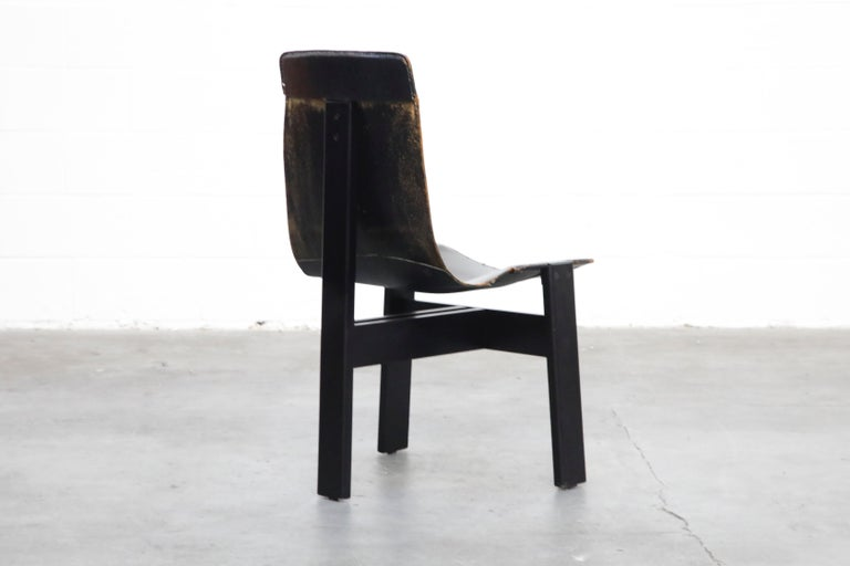 Wood Angelo Mangiarotti for Skipper 'Tre 3' Dining Leather Sling Chairs, circa 1978 For Sale
