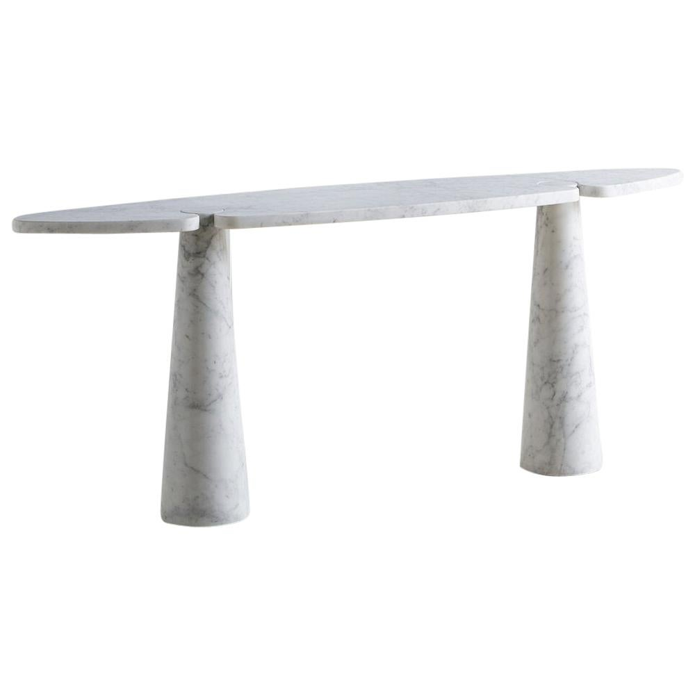 White Carrara Marble Eros Console Table by Angelo Mangiarotti for Skipper