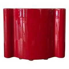 Angelo Mangiarotti for Superego Red Italian Ceramic Vase