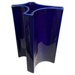Angelo Mangiarotti Indigo Ceramic Vase, 1960