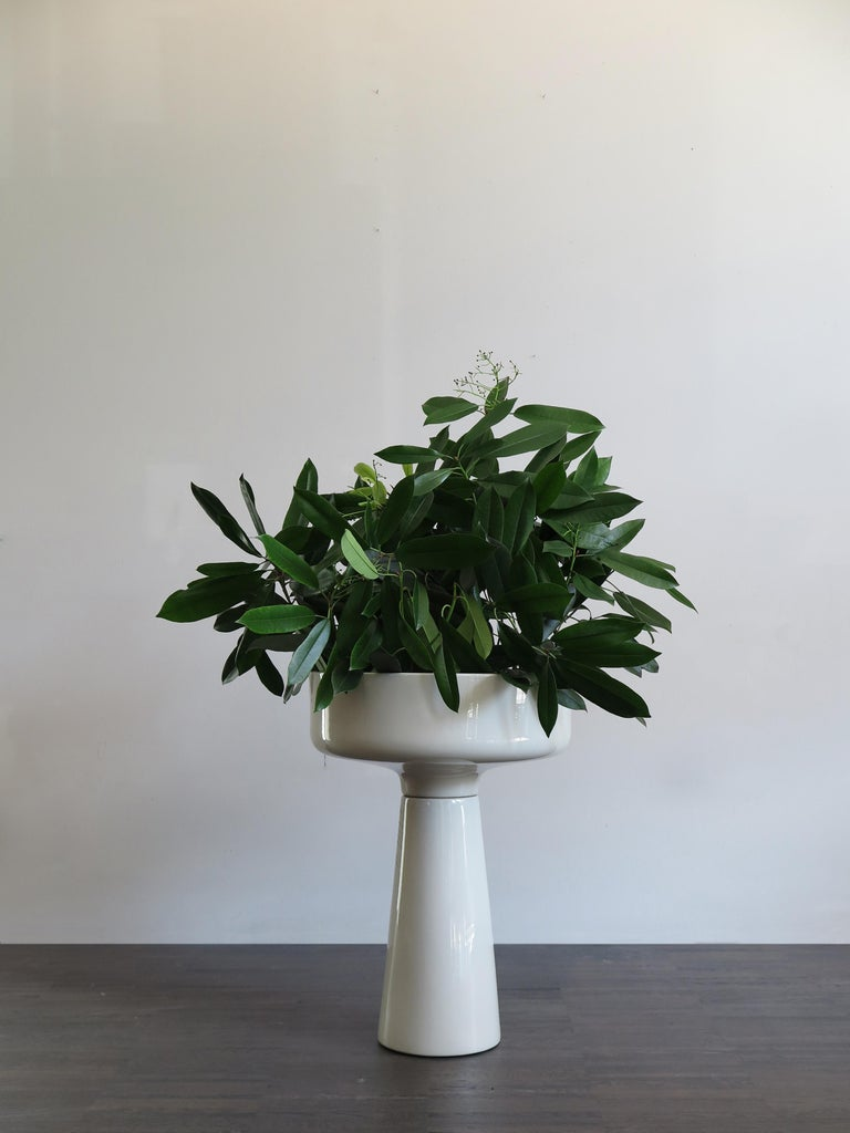 Italian ceramic standing planter comprised of two pieces designed by Angelo Mangiarotti for Fratelli Brambilla with mark impressed on the base, circa 1968.  Please note that the item is original of the period and this shows normal signs of age and
