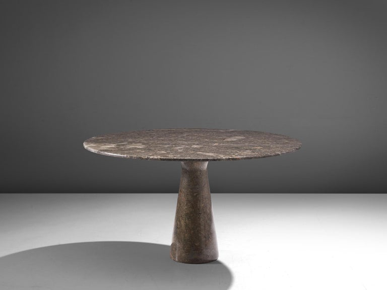 Angelo Mangiarotti for Skipper, table M1, marble, Italy, 1969.  This patterned dark grey marble table has a cone shaped base and a circular top. The circular top rests perfectly on the cone. The design showcases a play of balance and rhythm. The