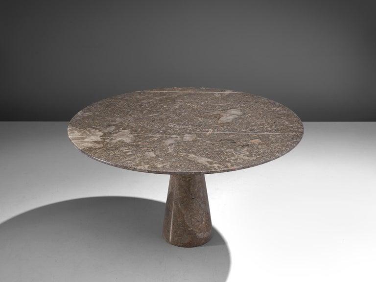 Post-Modern Angelo Mangiarotti Italian Dark Grey Marble Dining Table For Sale