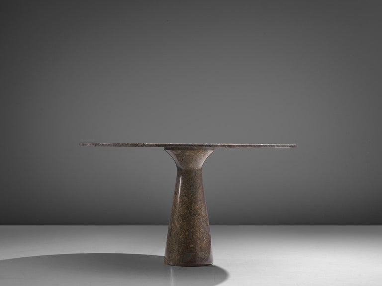 Angelo Mangiarotti Italian Dark Grey Marble Dining Table In Good Condition For Sale In Waalwijk, NL