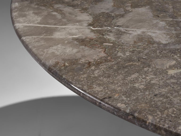 Mid-20th Century Angelo Mangiarotti Italian Dark Grey Marble Dining Table For Sale