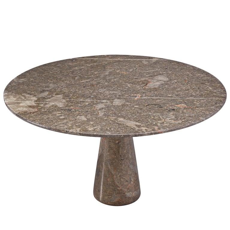 Angelo Mangiarotti Italian Dark Grey Marble Dining Table For Sale