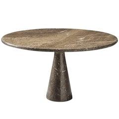 Angelo Mangiarotti Italian Grey Marble Dining Table