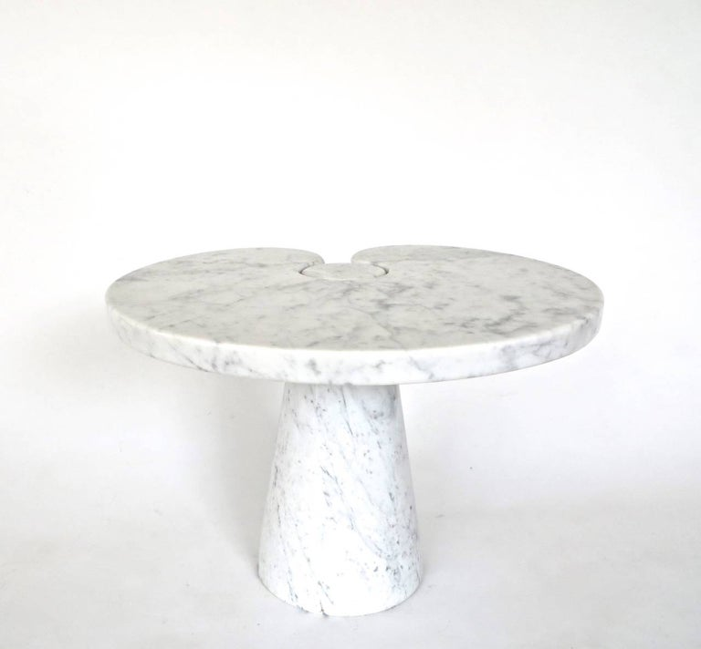 Mid-Century Modern Angelo Mangiarotti Italian White Carrara Marble Low Side Table Eros Series For Sale