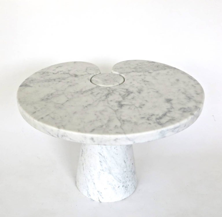 Angelo Mangiarotti Italian White Carrara Marble Low Side Table Eros Series In Good Condition For Sale In Chicago, IL