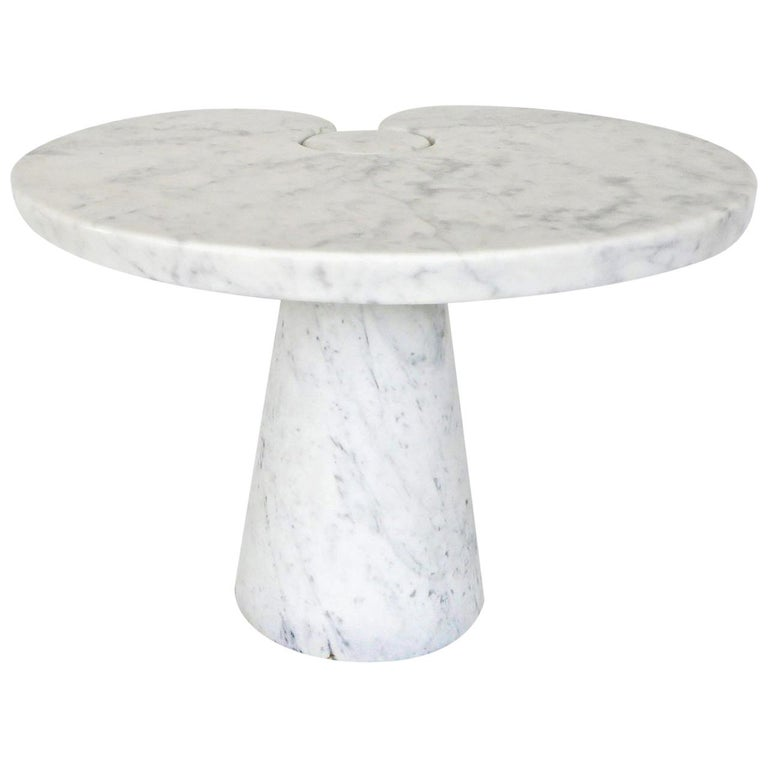 Angelo Mangiarotti Italian White Carrara Marble Low Side Table Eros Series For Sale