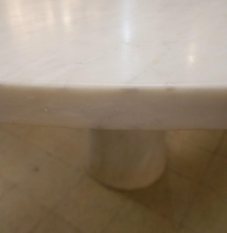 Mid-Century Modern Angelo Mangiarotti Marble Round Dining Table, 1970s For Sale