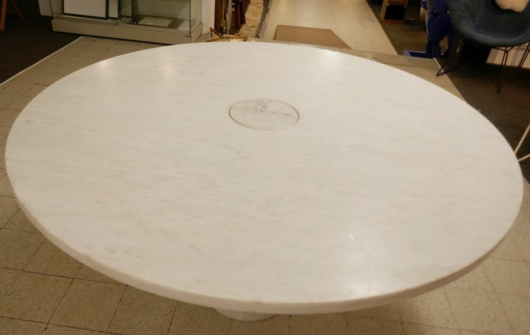 Italian Angelo Mangiarotti Marble Round Dining Table, 1970s For Sale