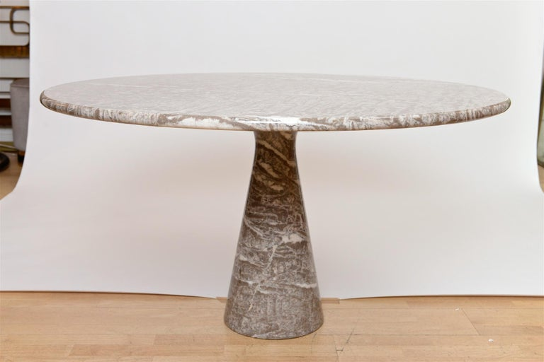 An excellent  Angelo Mangiarotti table for Skipper. c1969 in Light Emperador marble.