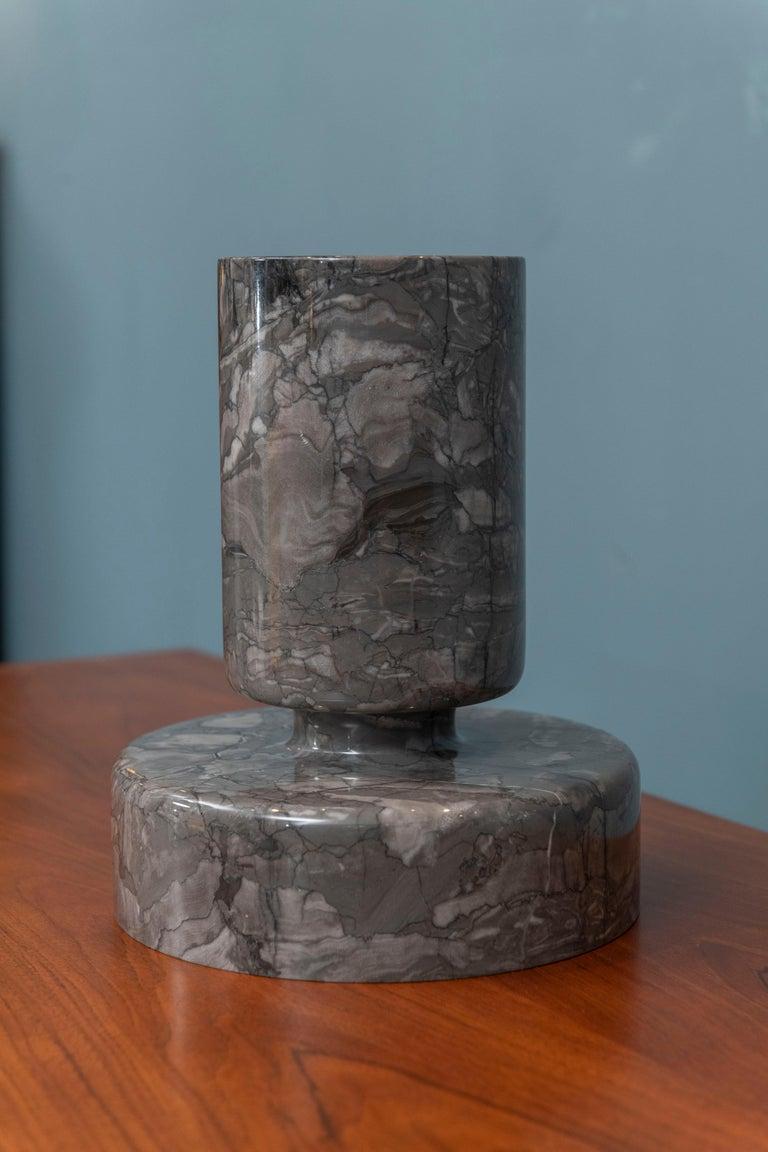 Belgian Black Marble Angelo Mangiarotti Marble Vase Vessel For Sale