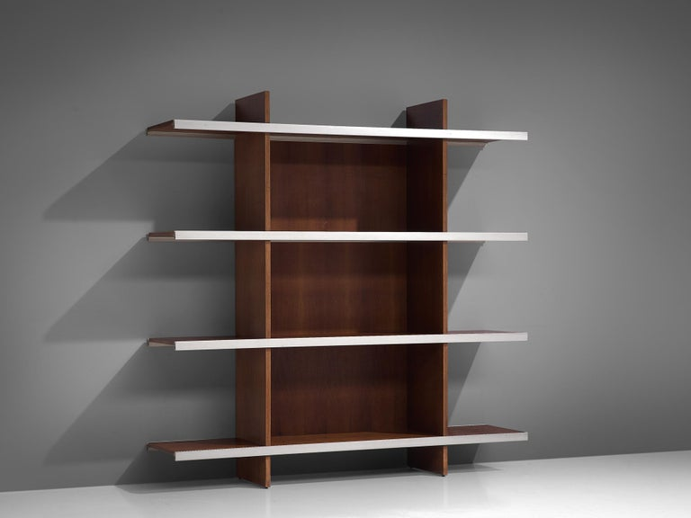 Angelo Mangiarotti for Poltronova, cabinet/bookcase from the multiuse series, teak, aluminum, Italy, 1960s.   Beautiful bookcase/sideboard of the multiuse series that Mangiarotti designed for Poltronova. Multiuse series stands for versatile pieces