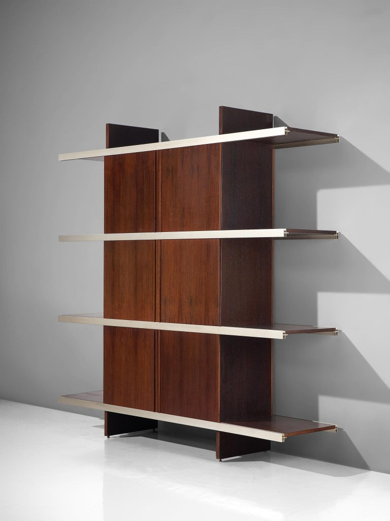 Angelo Mangiarotti for Poltronova, cabinet/bookcase from the multiuse series, exotic wood, aluminum, Italy, 1960s.  Beautiful bookcase/sideboard of the multiuse series that Mangiarotti designed for Poltronova. Multiuse series stands for versatile