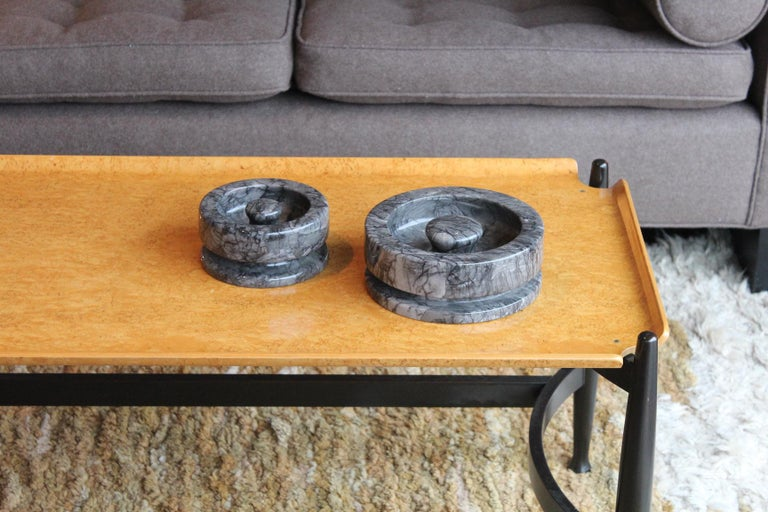 Angelo Mangiarotti Pair of Marble Bowls For Sale 9