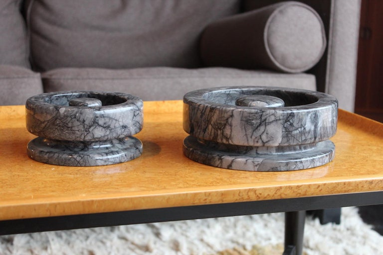 Angelo Mangiarotti Pair of Marble Bowls For Sale 1