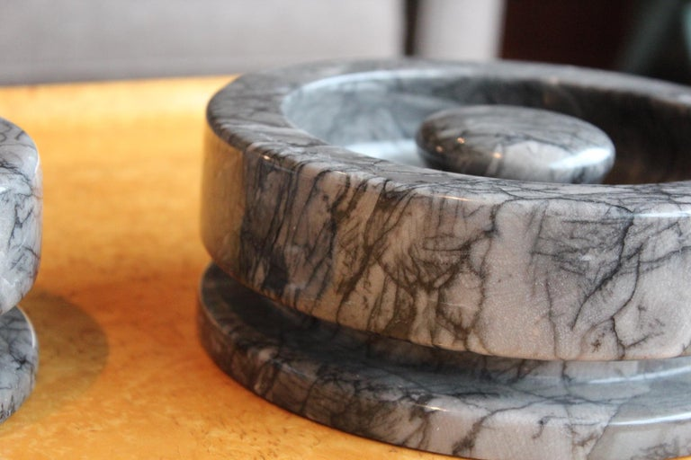 Angelo Mangiarotti Pair of Marble Bowls For Sale 4