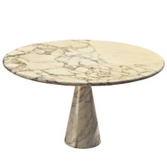 Angelo Mangiarotti Perdestal Table in Carrara marble, 1970s