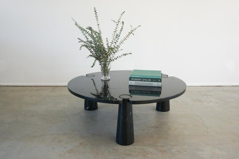 Vintage Italian three cylinder Black Marquina marble coffee table by Angelo Mangiarotti.