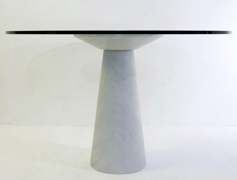 Mid-Century Modern Angelo Mangiarotti Round Marble and Glass Table For Sale