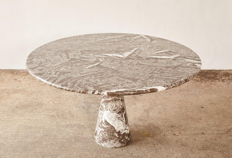 Mid-Century Modern Angelo Mangiarotti Round Marble T70 Dining Table, Italy, 1960s-1970s For Sale